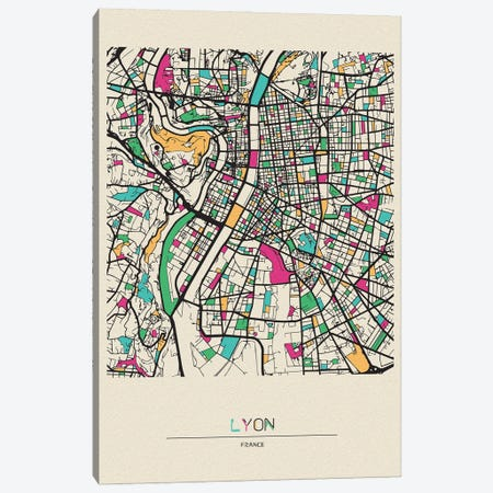 Lyon, France Map Canvas Print #ADA543} by Ayse Deniz Akerman Canvas Artwork