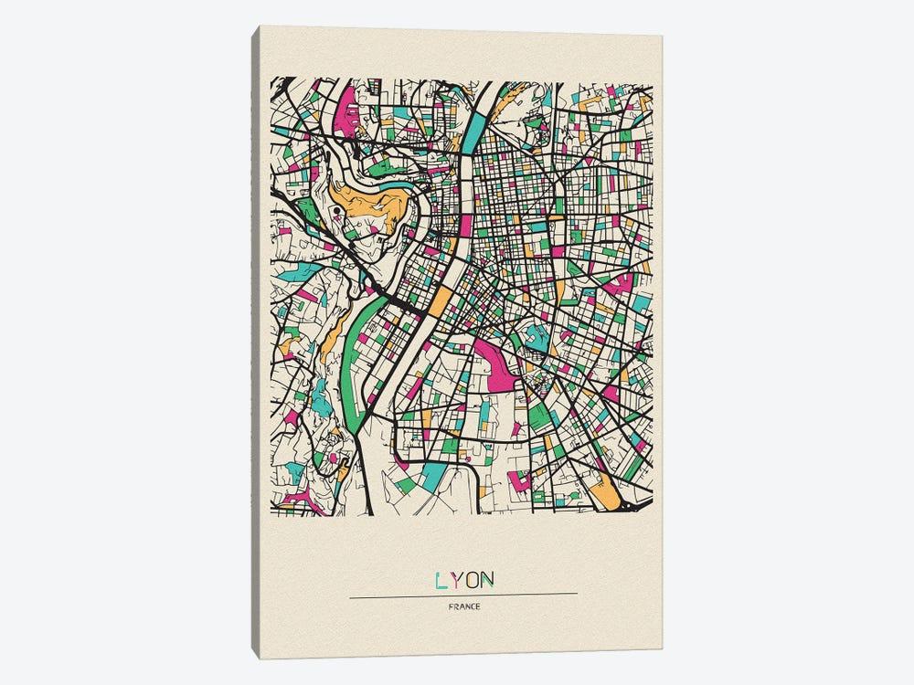 Lyon, France Map by Ayse Deniz Akerman 1-piece Canvas Artwork