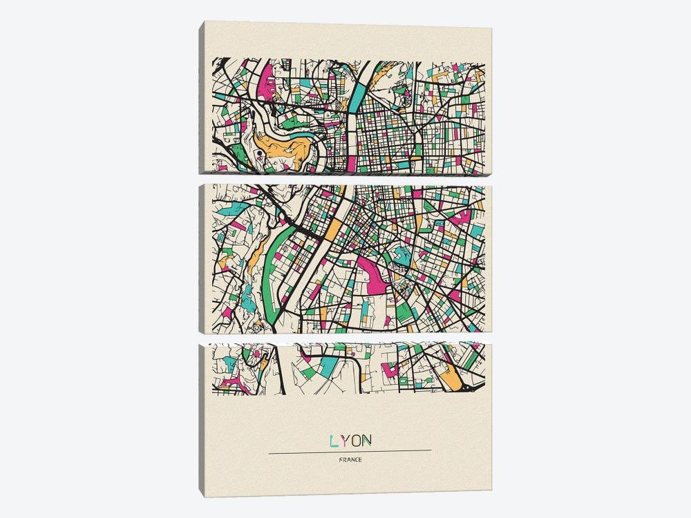 Lyon, France Map by Ayse Deniz Akerman 3-piece Canvas Artwork