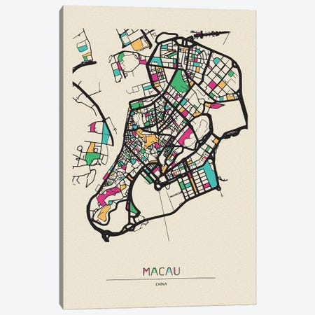 Macau, China Map Canvas Print #ADA544} by Ayse Deniz Akerman Art Print