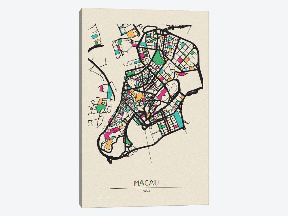 Macau, China Map by Ayse Deniz Akerman 1-piece Canvas Print