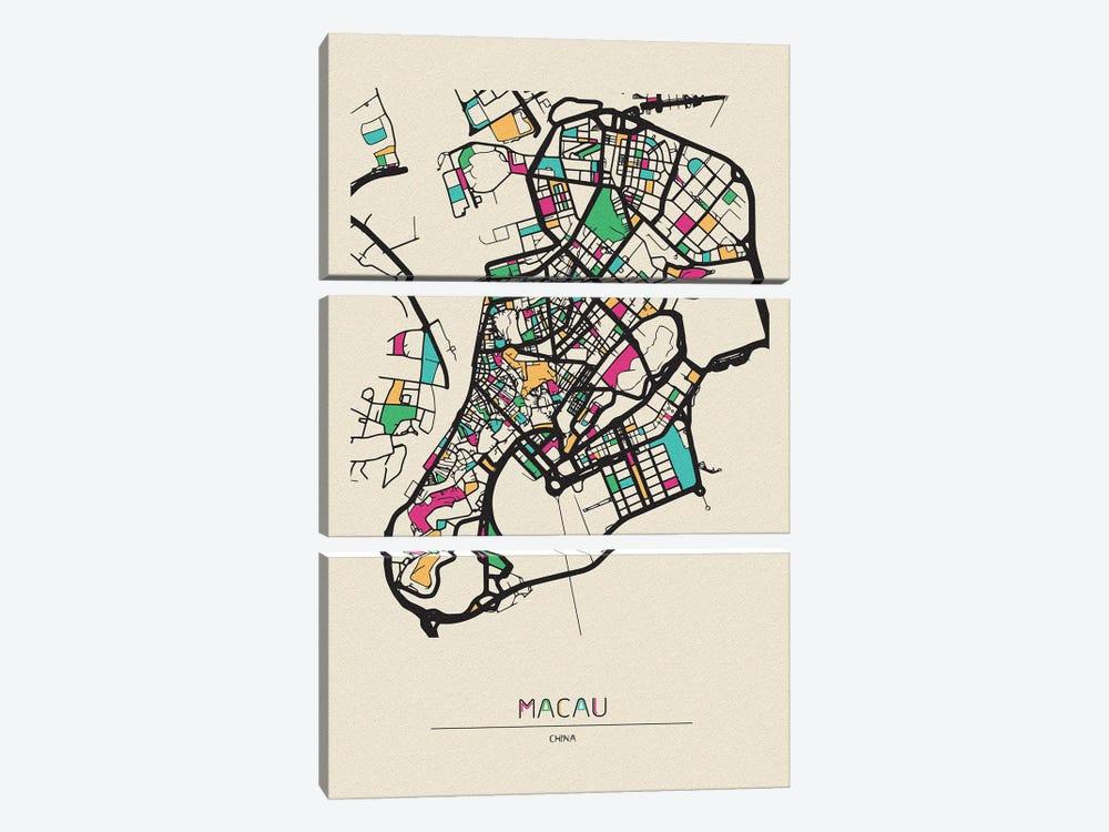 Macau, China Map by Ayse Deniz Akerman 3-piece Canvas Art Print