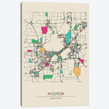 Madison, Wisconsin Map Canvas Print #ADA545} by Ayse Deniz Akerman Art Print