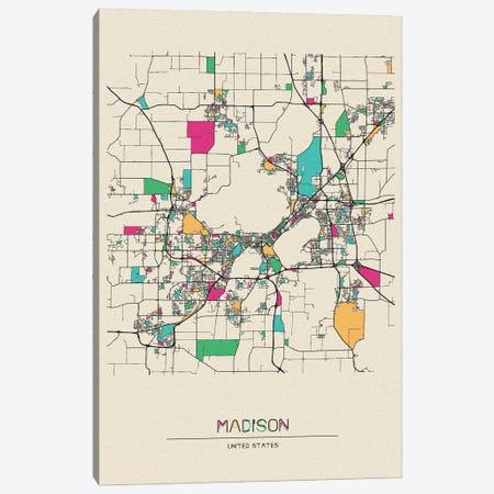 Madison, Wisconsin Map Canvas Print #ADA545} by Ayse Deniz Akerman Art Print