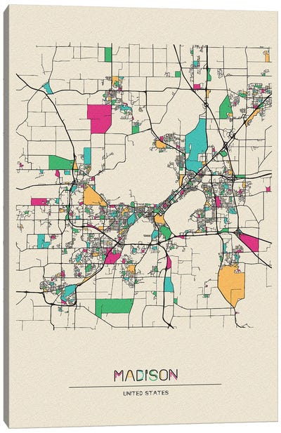 Madison, Wisconsin Map Canvas Art Print