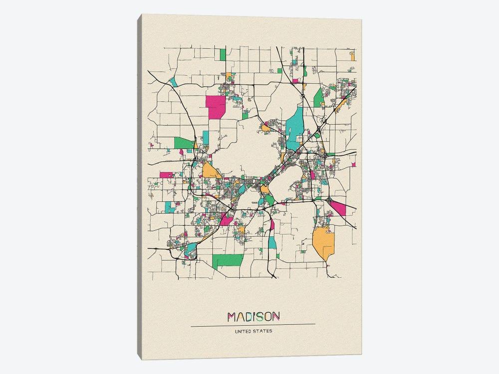 Madison, Wisconsin Map by Ayse Deniz Akerman 1-piece Canvas Wall Art