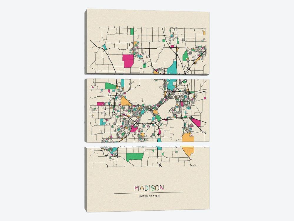 Madison, Wisconsin Map by Ayse Deniz Akerman 3-piece Canvas Wall Art