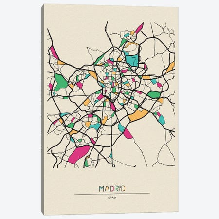 Madrid, Spain Map Canvas Print #ADA546} by Ayse Deniz Akerman Art Print