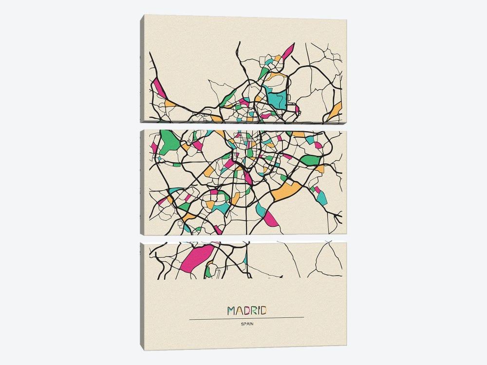 Madrid, Spain Map by Ayse Deniz Akerman 3-piece Canvas Print