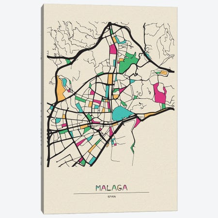 Malaga, Spain Map Canvas Print #ADA547} by Ayse Deniz Akerman Canvas Print