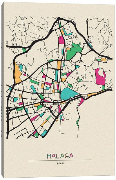 Malaga, Spain Map Canvas Art Print
