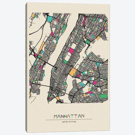 Manhattan, New York Map Canvas Print #ADA550} by Ayse Deniz Akerman Canvas Print