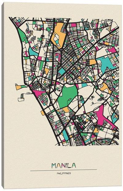 Manila, Philippines Map Canvas Art Print