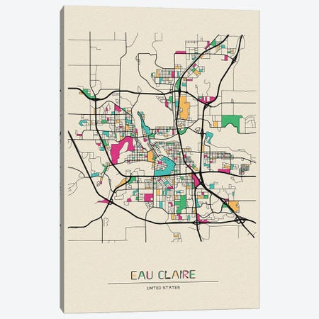 Eau Claire, Wisconsin Map Canvas Print #ADA552} by Ayse Deniz Akerman Art Print