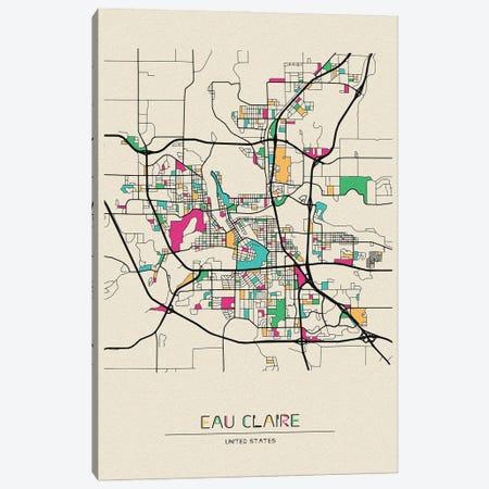 Eau Claire, Wisconsin Map Canvas Print #ADA552} by Ayse Deniz Akerman Art Print