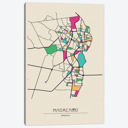 Maracaibo, Venezuela Map Canvas Print #ADA553} by Ayse Deniz Akerman Art Print