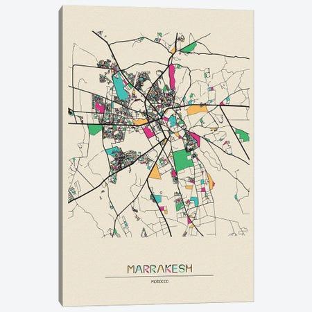 Marrakesh, Morocco Map Canvas Print #ADA554} by Ayse Deniz Akerman Canvas Art