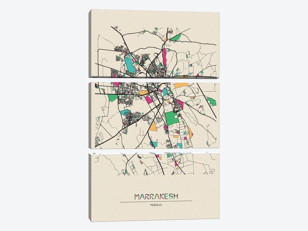 Marrakesh, Morocco Map by Ayse Deniz Akerman 3-piece Canvas Art