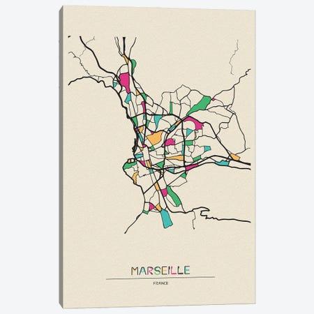 Marseille, France Map Canvas Print #ADA555} by Ayse Deniz Akerman Canvas Wall Art