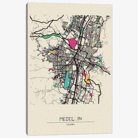 Medellin, Colombia Map Canvas Print #ADA557} by Ayse Deniz Akerman Canvas Art