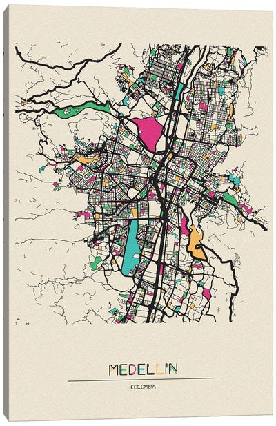 Medellin, Colombia Map Canvas Art Print