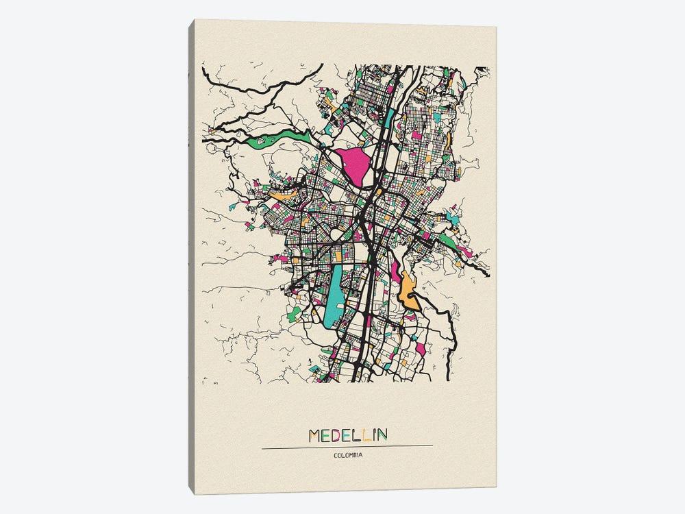 Medellin, Colombia Map by Ayse Deniz Akerman 1-piece Canvas Art Print