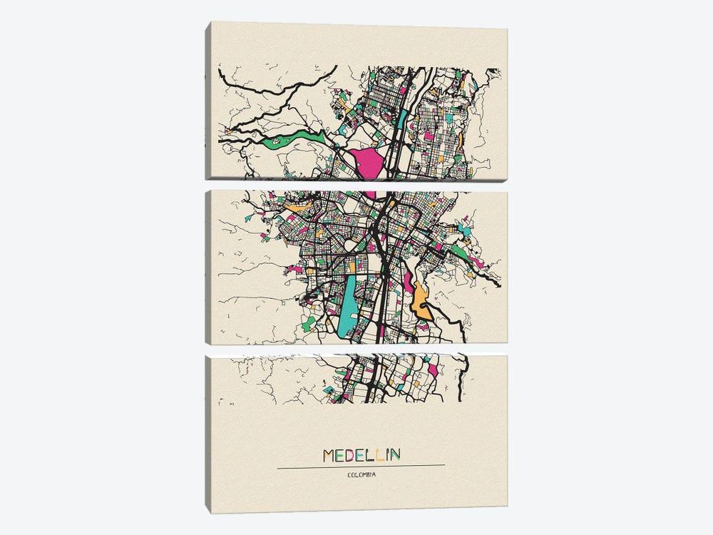 Medellin, Colombia Map by Ayse Deniz Akerman 3-piece Canvas Print
