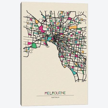 Melbourne, Australia Map Canvas Print #ADA558} by Ayse Deniz Akerman Art Print