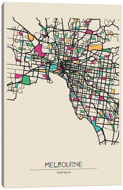 Melbourne, Australia Map Canvas Art Print