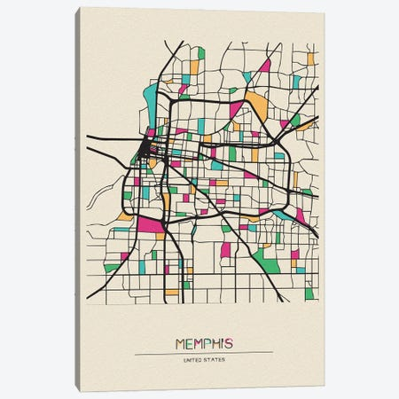 Memphis, Tennessee Map Canvas Print #ADA559} by Ayse Deniz Akerman Art Print