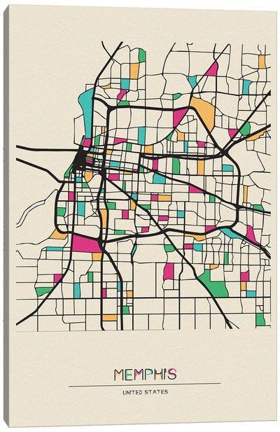 Memphis, Tennessee Map Canvas Art Print
