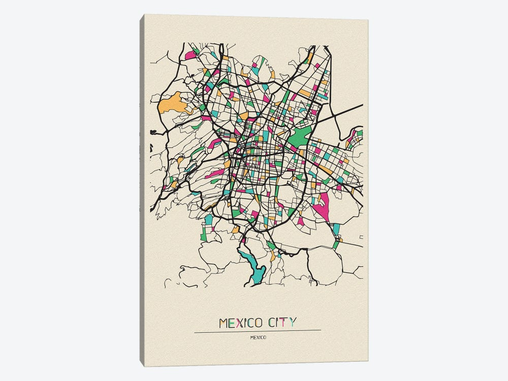 Mexico City Map by Ayse Deniz Akerman 1-piece Canvas Art Print