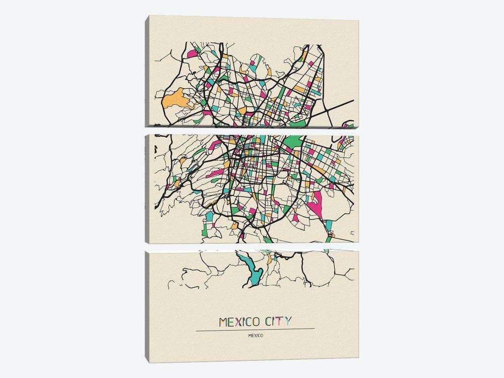 Mexico City Map by Ayse Deniz Akerman 3-piece Art Print