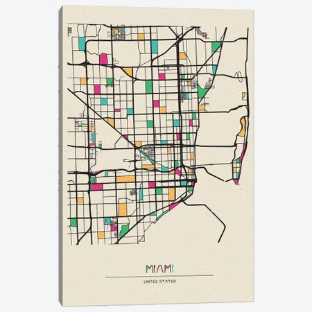 Miami, Florida Map Canvas Print #ADA563} by Ayse Deniz Akerman Canvas Artwork