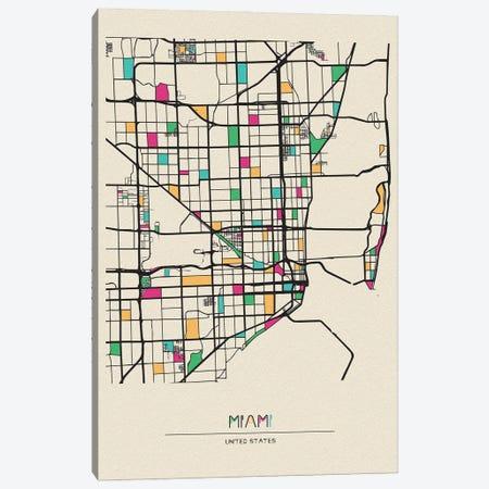 Miami, Florida Map Canvas Print #ADA563} by Ayse Deniz Akerman Canvas Artwork