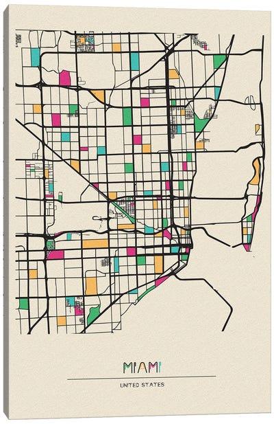 Miami, Florida Map Canvas Art Print