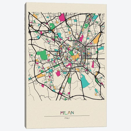 Milan, Italy Map Canvas Print #ADA564} by Ayse Deniz Akerman Art Print