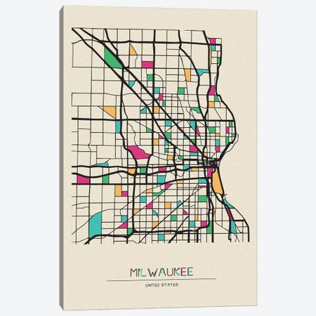 Milwaukee, Wisconsin Map Canvas Print #ADA565} by Ayse Deniz Akerman Canvas Art Print