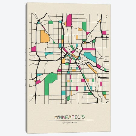 Minneapolis, Minnesota Map Canvas Print #ADA566} by Ayse Deniz Akerman Canvas Print