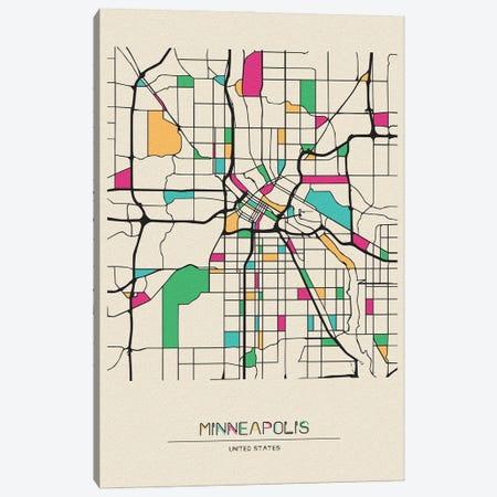 Minneapolis, Minnesota Map Canvas Print #ADA566} by Ayse Deniz Akerman Canvas Print