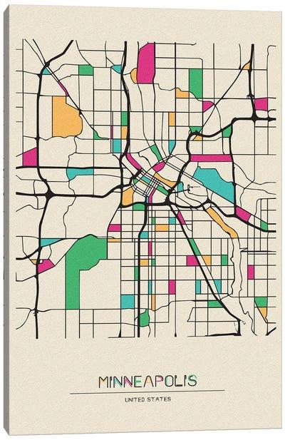 Minneapolis, Minnesota Map Canvas Art Print