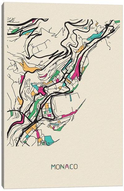 Monaco Map Canvas Art Print
