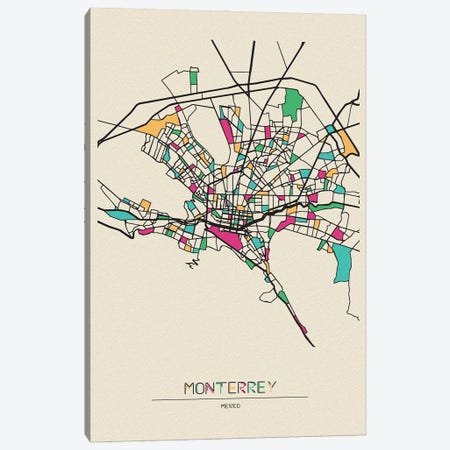 Monterrey, Mexico Map Canvas Print #ADA568} by Ayse Deniz Akerman Canvas Art