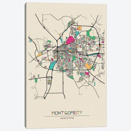 Montgomery, Alabama Map Canvas Print #ADA570} by Ayse Deniz Akerman Canvas Print