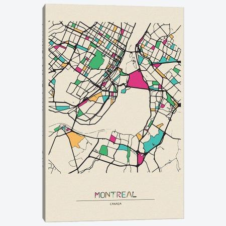 Montreal, Canada Map Canvas Print #ADA571} by Ayse Deniz Akerman Canvas Art Print