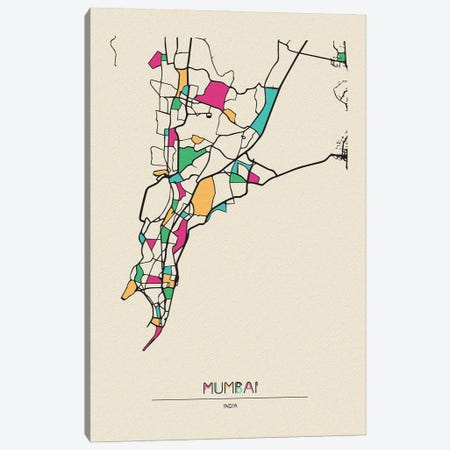 Mumbai, India Map Canvas Print #ADA573} by Ayse Deniz Akerman Art Print
