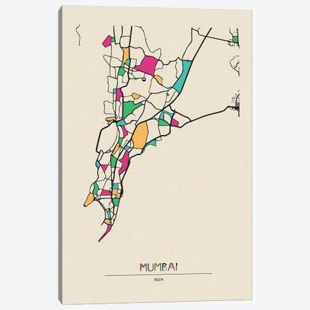 Mumbai, India Map Canvas Print #ADA573} by Ayse Deniz Akerman Art Print
