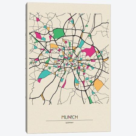 Munich, Germany Map Canvas Print #ADA574} by Ayse Deniz Akerman Canvas Artwork