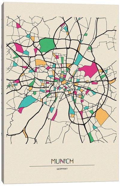 Munich, Germany Map Canvas Art Print