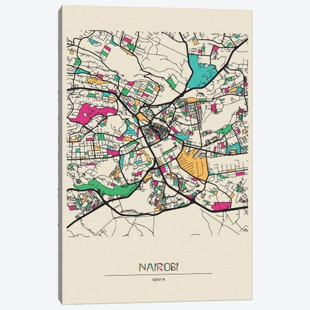 Nairobi, Kenya Map Canvas Print #ADA575} by Ayse Deniz Akerman Canvas Artwork